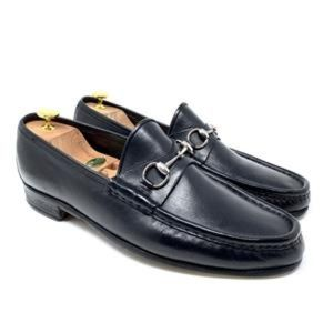 GUCCI Black Leather Silver Horsebit Luxury Loafer